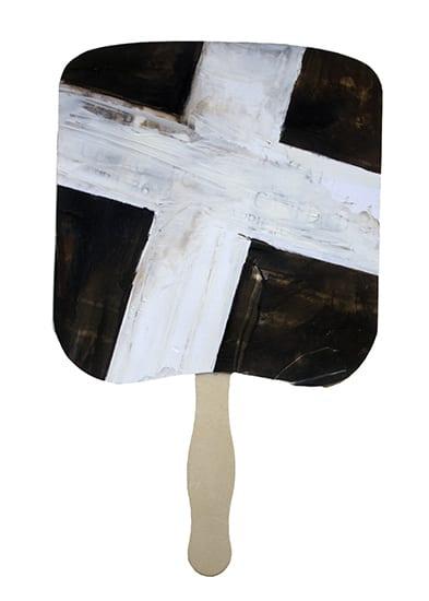 #4 Church Fan Handpainted black and white silverprint 12 x 7.5 inches