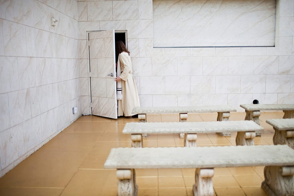 One of the actors who plays Jesus at the Holy Land Experience in Orlando, Fla. exits through a door for the theme park staff.