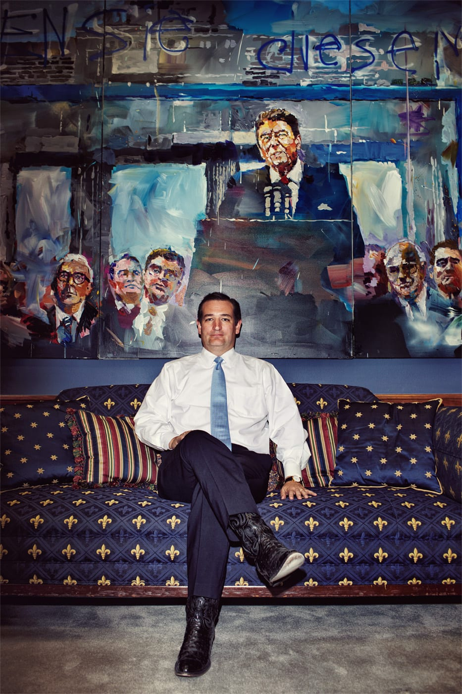 """Texas Senator Ted Cruz poses for a portrait in his office, which notably features a very large painting by the artist Steve Penley of President Ronald Reagan delivering his """"tear down this wall"""" Brandenburg Gate speech."""